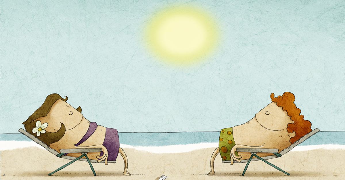 couple_sunbathing_chairs_beach